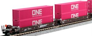 BNSF Maxi I Well Car Magenta ONE Containers