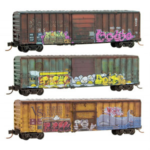 MicroTrains Weathered Graffiti Cars