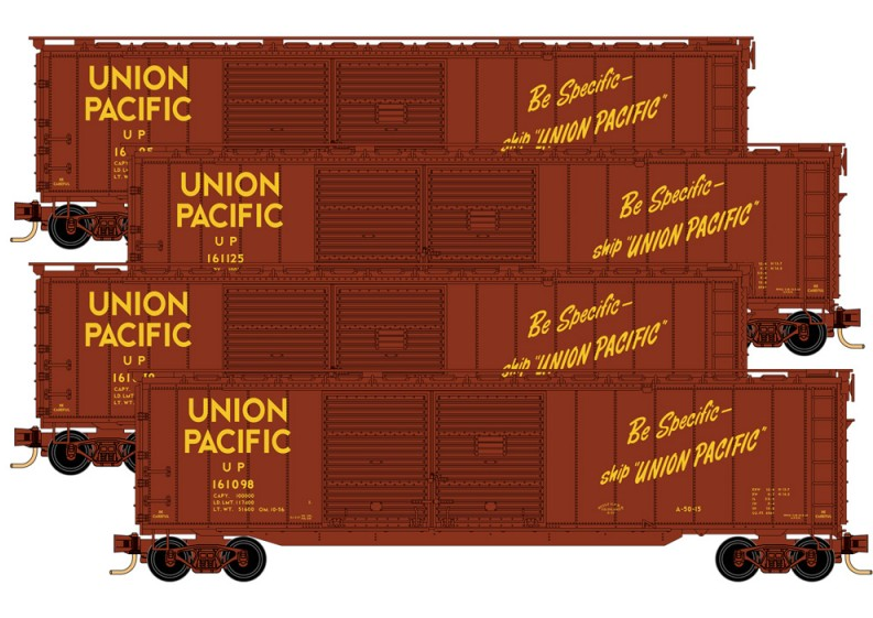 993 00 152 union pacific double door boxcar runner pack 4 pack