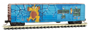 025 44 156 graffiti - WLO/CN 'Elephant Toss' graffiti - N Scale