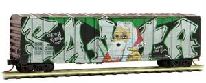 025 44 330 50 ft Box Car - Weathered Southern - Santa Graffiti - N Scale