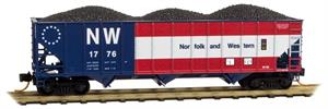 108 00 310 100-ton three-bay hopper - NORFOLK & WESTERN 1776