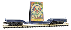109 00 161 Heavy Weight Center Depressed Flat Car - N Scale RB's - Clown Billboard #3 - Rd 106 - N Scale