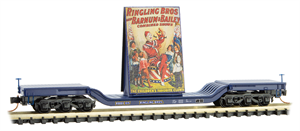 109 00 162 Heavy Weight Center Depressed Flat Car - N Scale Ringling Brother's - Clown Billboard #4 - Rd# 105 N Scale