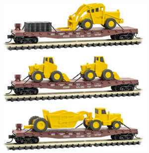 993 01 940 Flat Car set with Construction Equipment - Pennsylvania - 3 pack - N Scale