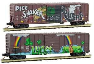 993 05 380 50' Weathered & Graffiti Ribside Boxcar, Single Door - Lucky - (N Scale)