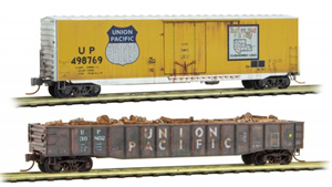 993 05 480 40' Weathered Plug Door Box Car & Gondola - Union Pacific ® (2-Pack) - N Scale
