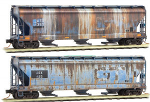 993 05 500 Weathered Covered Hopper - ACFX Prototypical 4-Pack - Weathered Graffiti