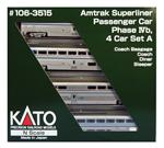 106-3515 Amtrak 4-Car Superliner I Set A Phase IV - 2019 Set - N Scale