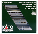 106-3516 Amtrak 4-Car Superliner I Set B- Phase IV - 2019 Set - N Scale