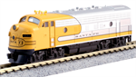 N Scale F7 from Kato Santa Fe Yellow Bonnet