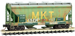 092 44 040 Weathered Graffiti 2 Bay Center Flow Covered Hopper Car - HLMX ex-MKT - N Scale
