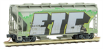 092 44 240 Weathered Graffiti 2 Bay Center Flow Covered Hopper