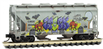 092 44 440 Weathered Graffiti 2 Bay Center Flow Covered Hopper - Halloween 2019 - N Scale
