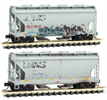 092 44 460 Weathered 2 bay Covered Hopper - Norfolk Southern - graffiti 2-pk - Micro Trains N Scale
