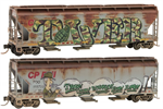 094 44 092 Weathered 3 bay Covered Hopper - Soo/CP 'Tower' graffiti 2-pk