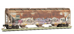 094 44 470 Weathered Graffiti 3 bay Covered Hopper - Valentine Graffiti
