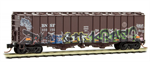 098 44 040 50' Weathered Graffiti Airslide Hopper Covered Hopper - Burlington Northern & Santa Fe