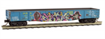 105 44 131 50' steel side, 15-panel fixed end gondola  - Golden West Service 'Turkey' graffiti Micro-Trains N Scale