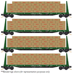 993 00 142 60' Bulkhead Flat Car w/lumber load - Burlington Northern 4-pk - N Scale