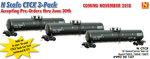 993 00 147 56' general service tank car Runner Pack - CTCX - 3 cars - N Scale