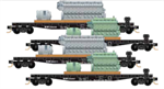 50' Flat Car with Loco Prime mover / Generator load - Norfolk Western - 4 car runner pack - N Scale