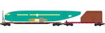 993 01 560 BNSF - Fuselage Transportation 4pk flat car set
