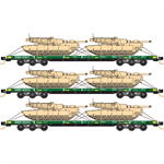 993 01 610DODX Flat Car Cascade Green 3pk #1 N Scale