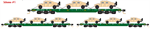 993 01 612 MTL Flat Car - Cascade Green 3-pack w/Humvees Micro-Trains N Scale