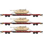 993 01 620 DODX Flat Car Red 3pk #2 N Scale