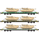 993 01 630 DODX Flat Car Mixed 3pk #3 N Scale