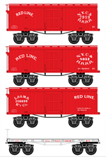 993 01 770 ***Pre-Order ETA 1/2019*** Civil War Era - Red Line 4-pack - N Scale