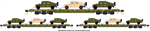 993 01 810 MTL Flat Car - Olive Drab Green 3-pack w/Humvees Micro-Trains N Scale
