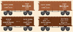 993 01 830 Civil War Era - Erie & North Shore Line 4-pack - N Scale