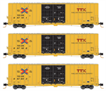 993 01 850 60' Rib Side, Double Plug Door High-Cube - TTX ver 2 - 3 pack - N Scale