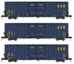 993 00 860 60' Rib Side, Double Plug Door High-Cube - CSX - 3 pack - N Scale