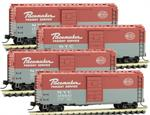 993 00 160 50' Standard Box Car, Single Door - New York Central - Pacemaker 4 Pk - N scale MicroTrains