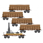 993 02 070 Civil War Era Log Car 5 Car Set