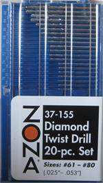 37-155 # 61 - # 80 MINI DIAMOND DRILL SET 20pc set