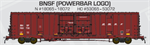 60' BX166 Double Door Box Car BNSF Power Bar Logo